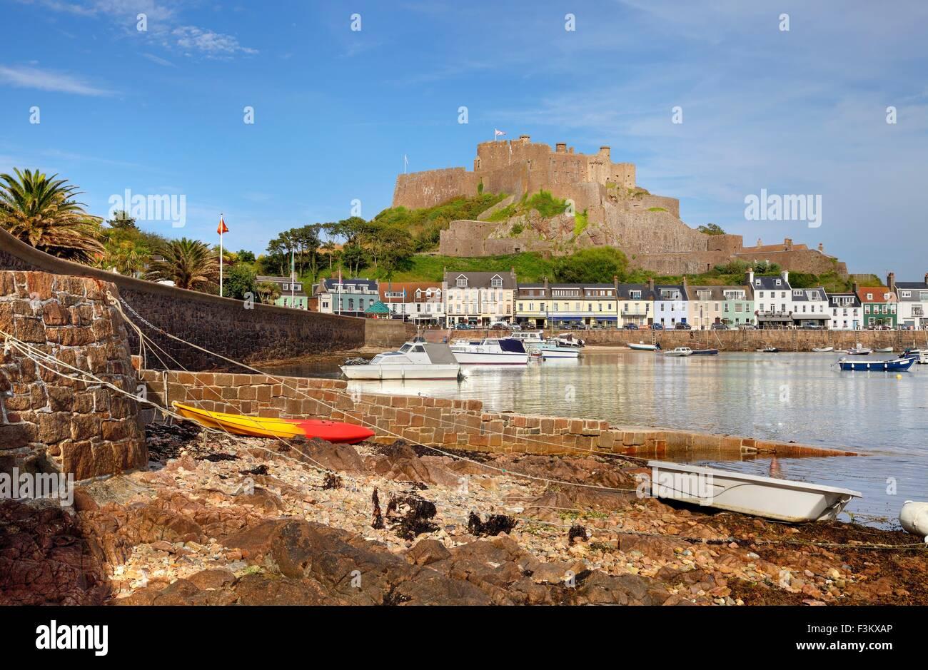 Mont Orgueil Castle at Gorey, Jersey, Channel Islands, Great Britain - Stock Image