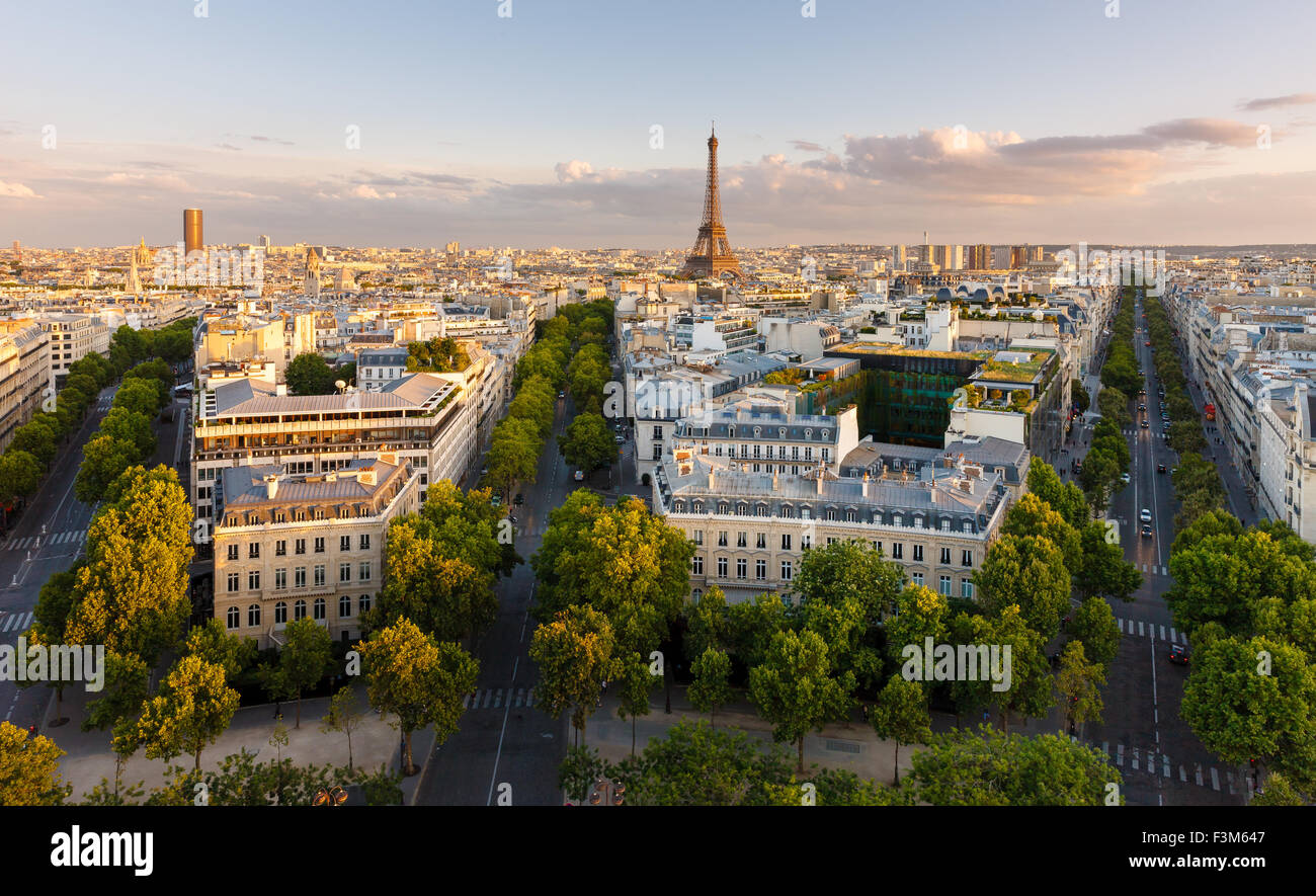 Paris from above showcasing rooftops, the Eiffel Tower,  Paris tree-lined avenues with their haussmannian buildings. - Stock Image