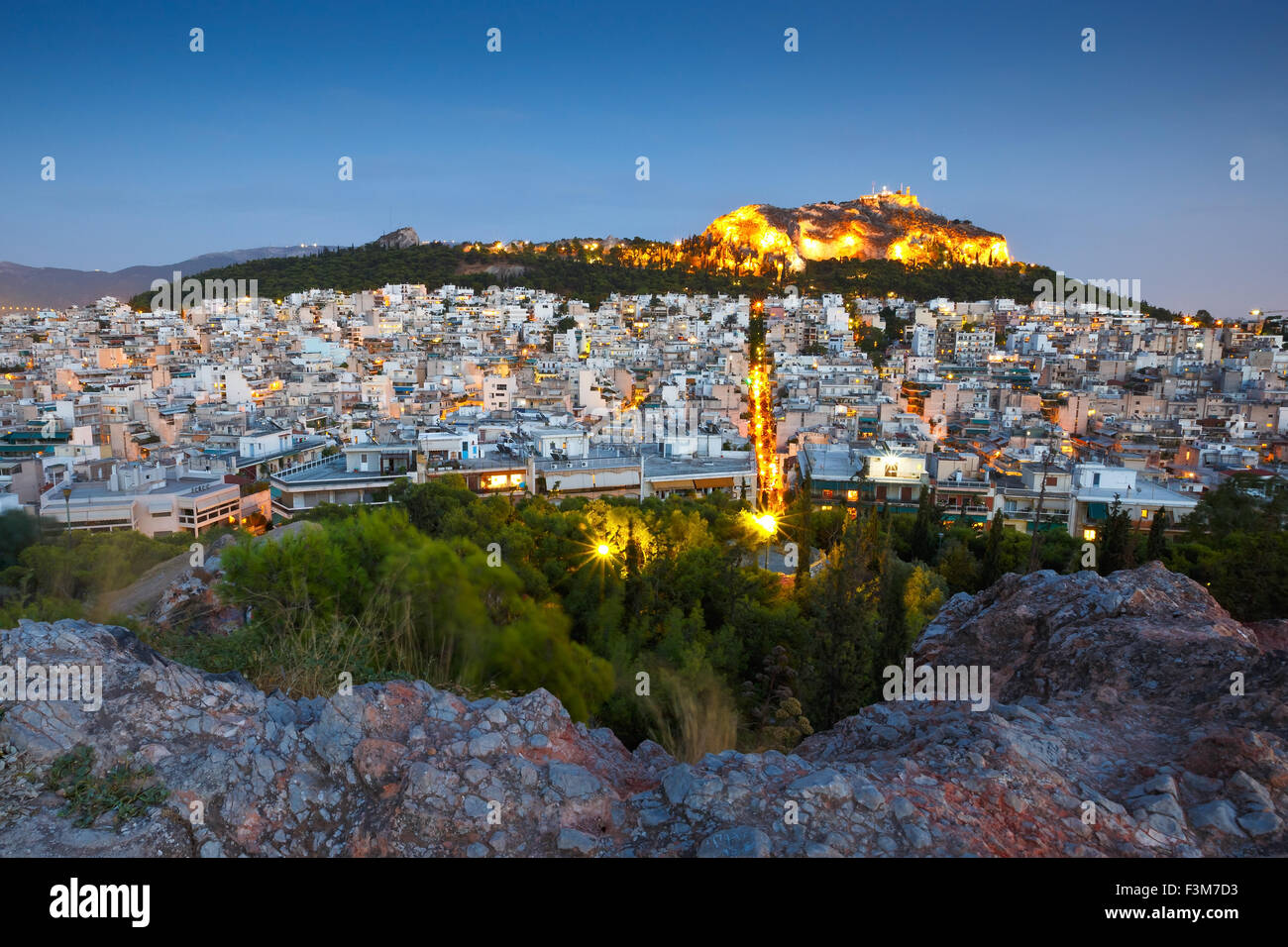 View of Lycabettus hill in central Athens from Strefi Hill. - Stock Image