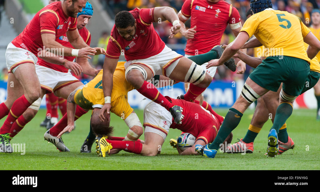 Twickenham Stadium, London, UK. 10th October, 2015. Taulupe Faletau of Wales leapfrogs team-mate Alun Wyn Jones Stock Photo