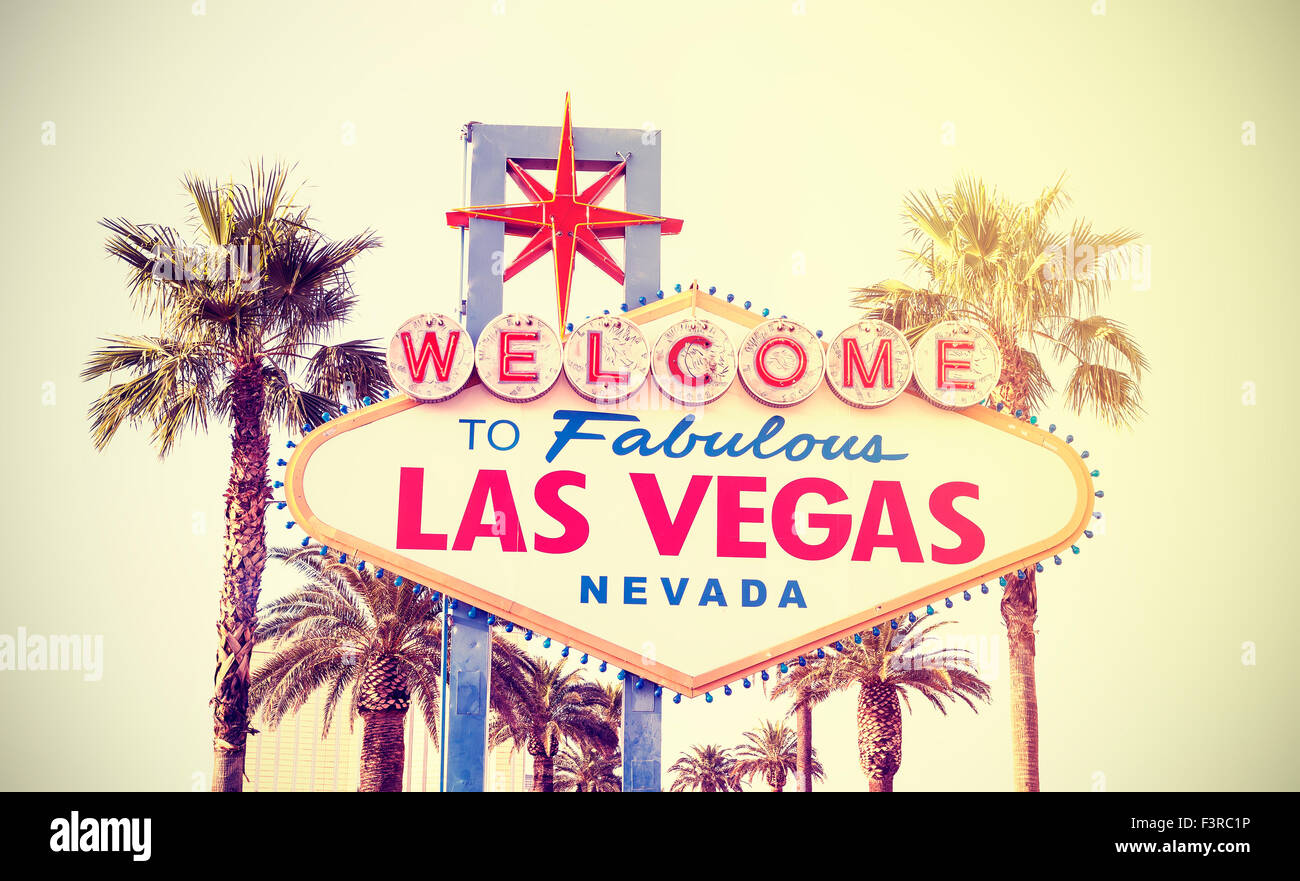 Retro vintage toned Welcome To Las Vegas Sign, USA. - Stock Image
