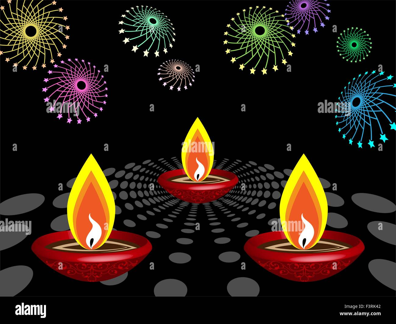 Diwali Greeting Fire Works Vector Art Stock Vector Art