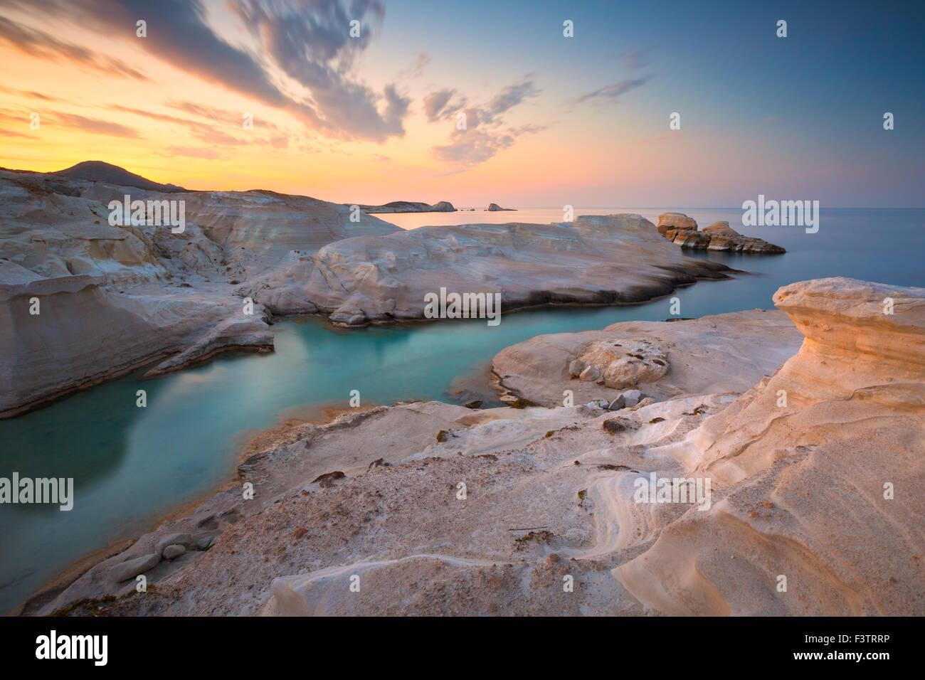 Sarakiniko beach on Milos island in sunset - Stock Image