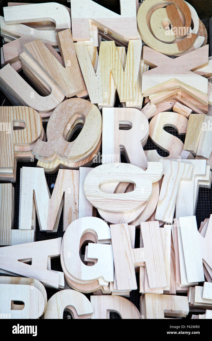 All alphabet letters carved from wood - Stock Image