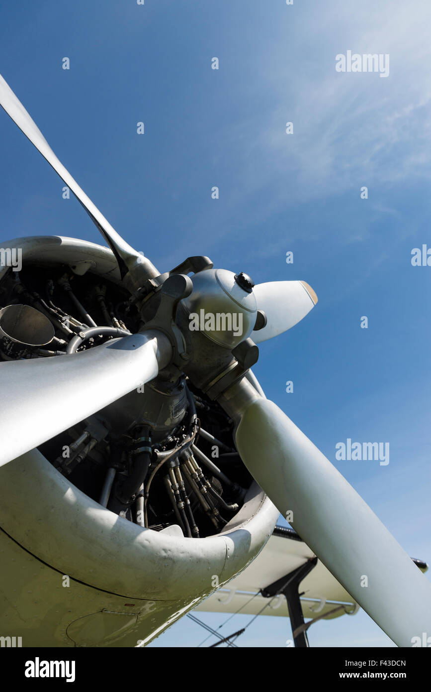 Detail of propeller motor on Antonov 2P colt plane at Texel Airport - Stock Image