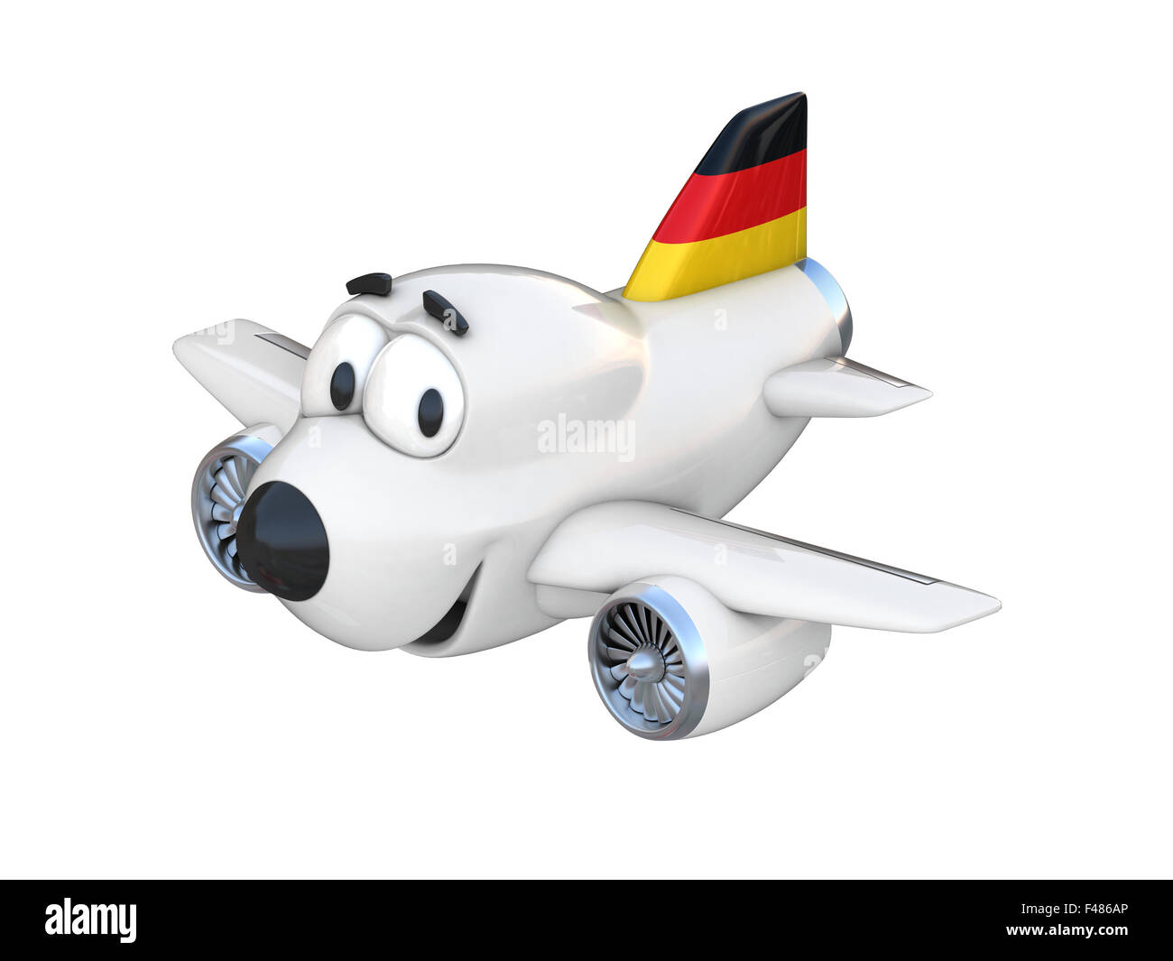 cartoon airplane with a smiling face german flag stock photo