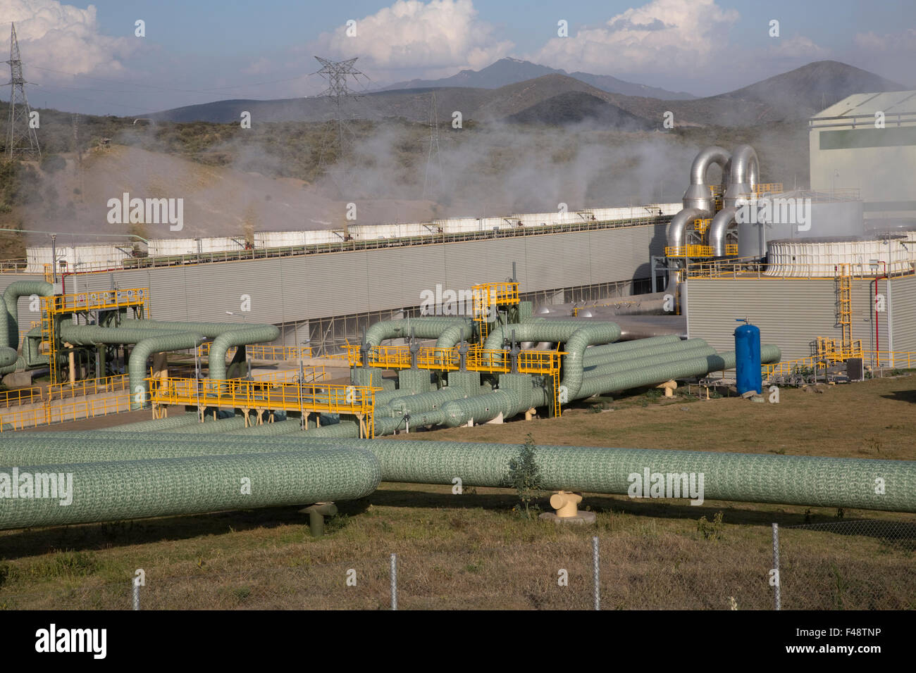 Olkaria 280MW geothermal energy plant Hell's Gate Rift Valley Kenya - Stock Image