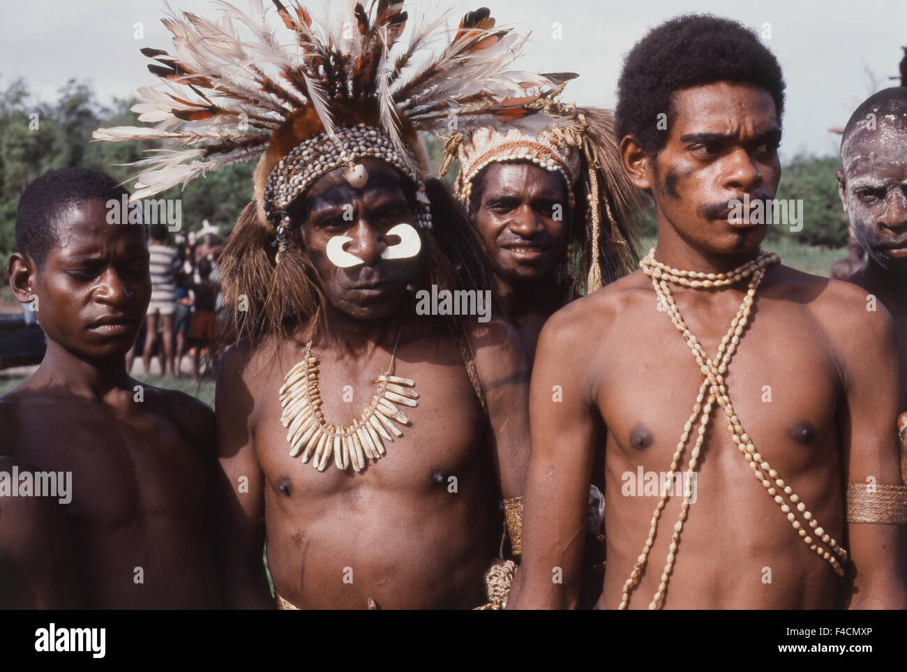 Indonesia, Irian Jaya, Native people standing. (Large format sizes available) - Stock Image