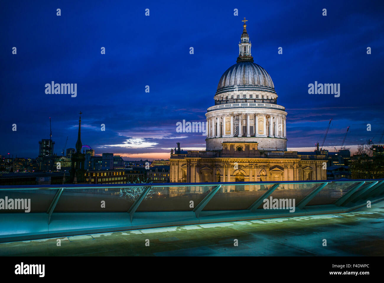 England, London, City, St. Paul's Cathedral from One New Change, dusk Stock Photo