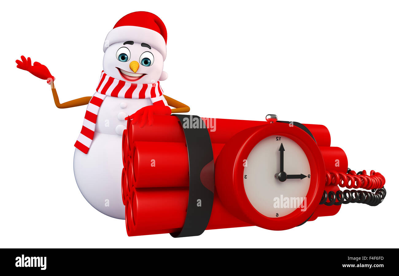 3d rendered illustration of snowman with timebomb - Stock Image