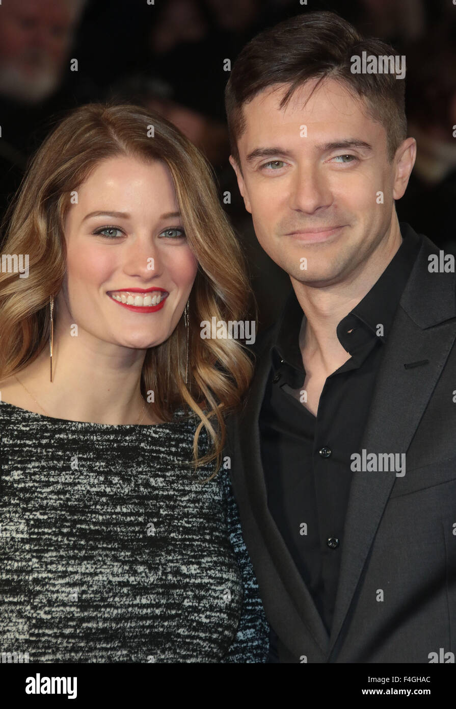London, UK. 17th October, 2015. Ashley Hinshaw and Topher Grace  attending 'Truth' screening at BFI London - Stock Image