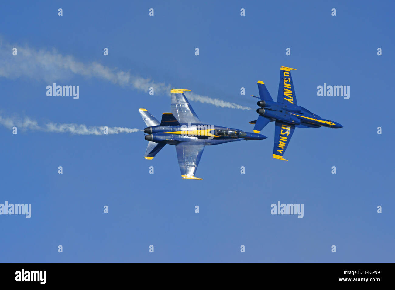Airplane Blue Angels Navy F-18 Hornet jet fighters flying at 2015 Miramar  Air Show in San Diego, California
