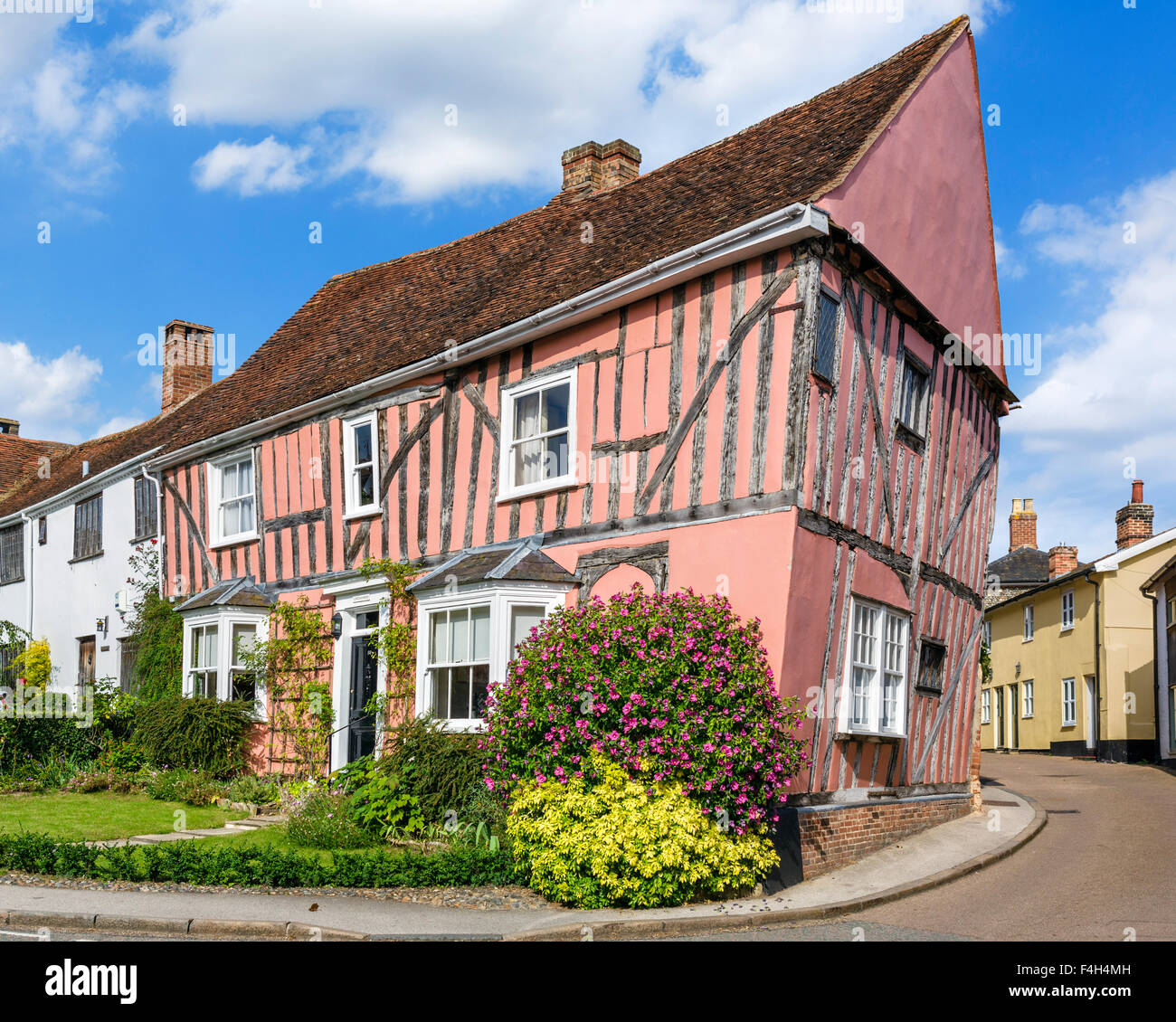 Lavenham Suffok. A colourful old crooked house in the village of Lavenham, Suffolk, England, UK Stock Photo