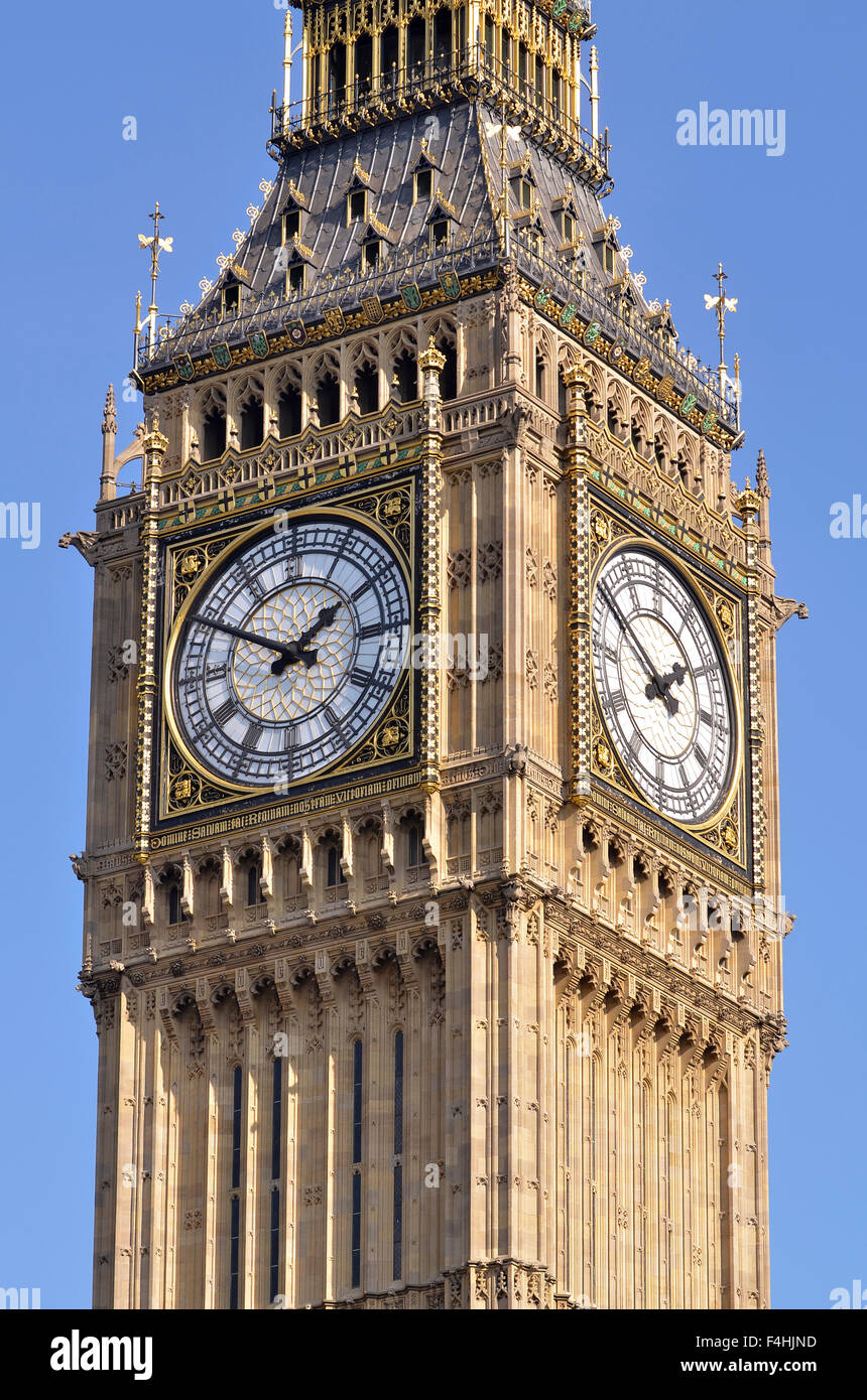 Big  Ben, The Elizabeth Tower, Houses of Parliament, Westminster, London, UK. - Stock Image