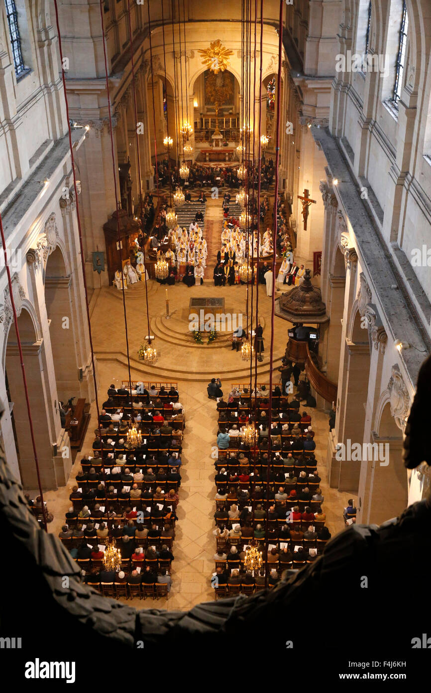 Mass in St. Louis's cathedral, Versailles, Yvelines, France, Europe - Stock Image