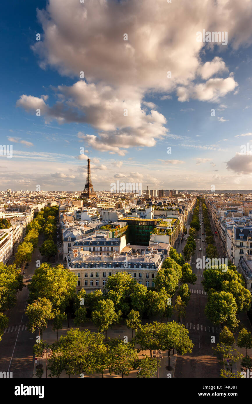 Paris from above: the famous Eiffel Tower and tree-lined Paris avenues (Iéna, Kleber) and their Haussmannian - Stock Image