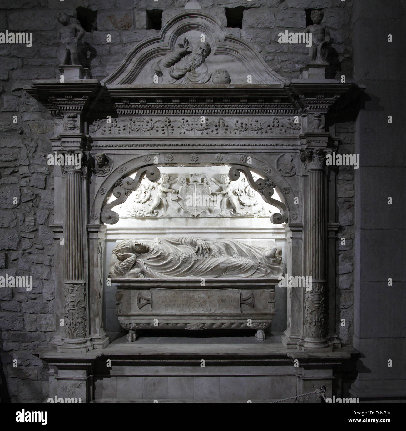 Tomb of Bishop Guillem Boil 1508-1532 Chapel of Hope at The Cathedral of Saint Mary of Girona Spain - Stock Image