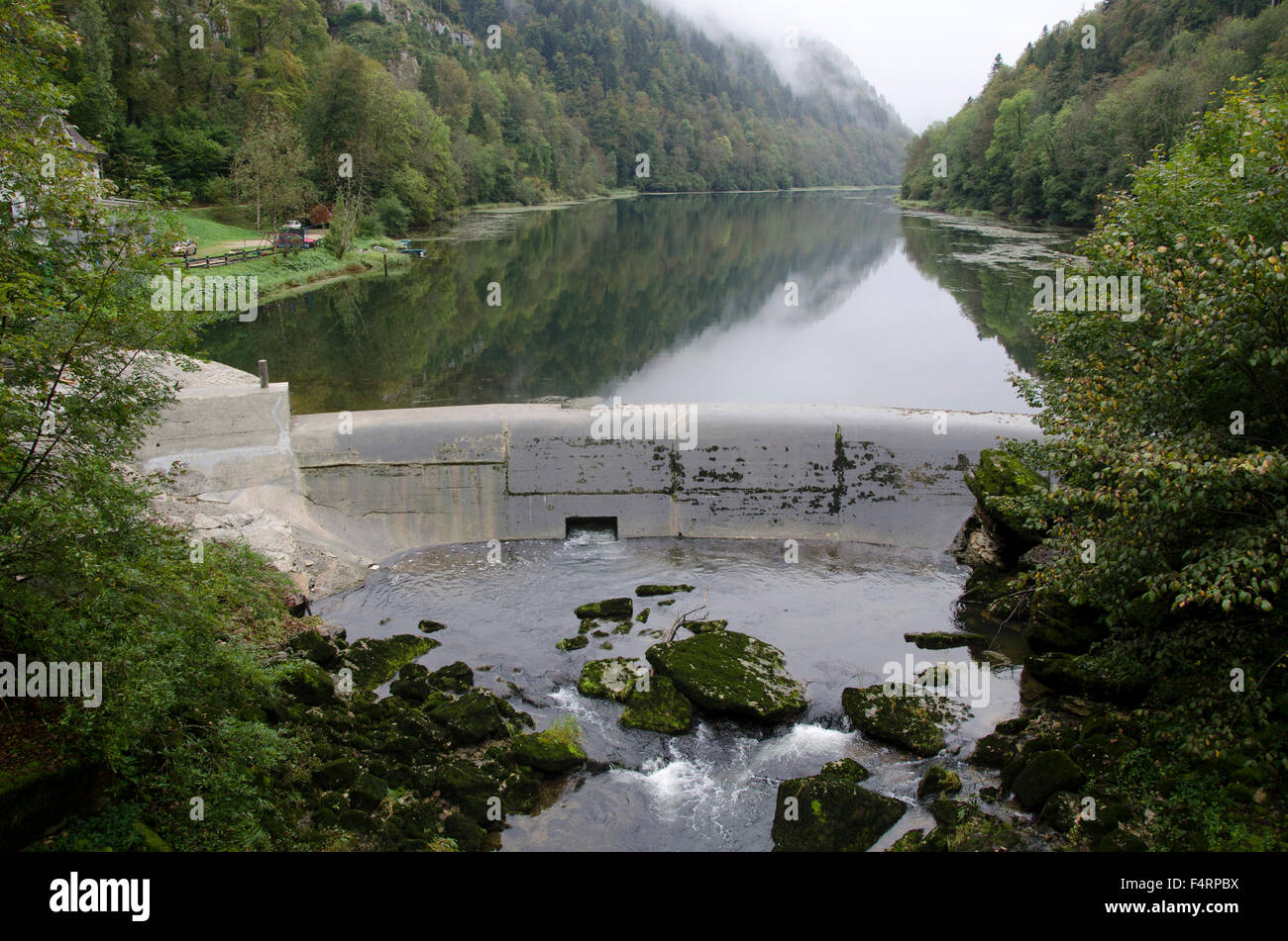 Doubs, river, flow, Switzerland, Europe, France, border, La Goule, traffic jam wall, power station, stream, current, - Stock Image
