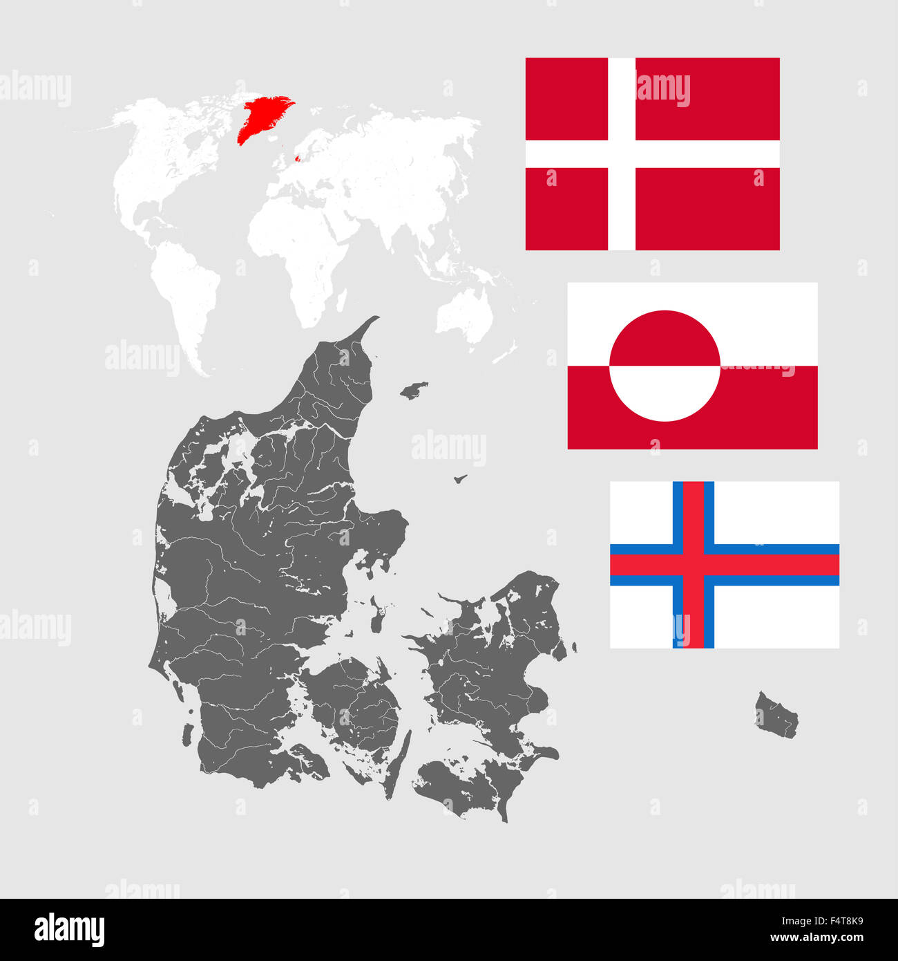 Map of denmark with rivers world map and three flags flag of map of denmark with rivers world map and three flags flag of denmark flag of greenland and flag of the faroe islands gumiabroncs Choice Image