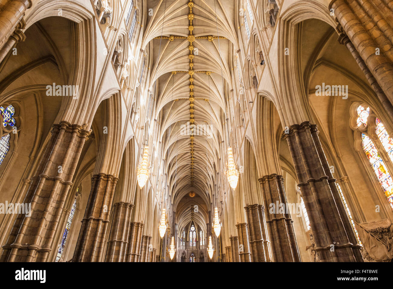 England, London, Westminster Abbey, The Nave - Stock Image