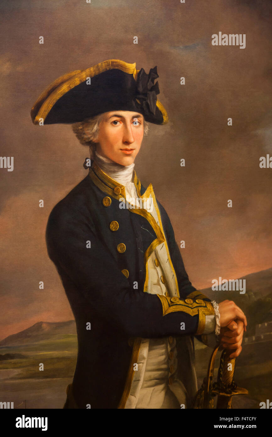 England, London, Greenwich, National Maritime Museum, Portrait of Captain Horatio Nelson by John Francis Rigaud - Stock Image