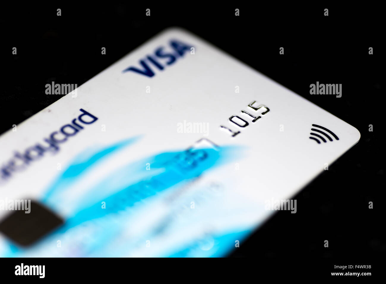 A closeup picture of a Barclay's  Debit card Stock Photo