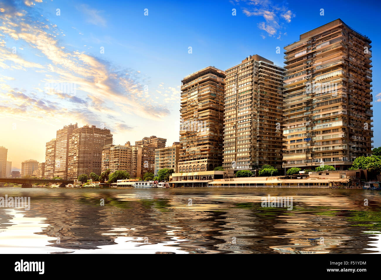 Buildings of Cairo on the bank of Nile - Stock Image