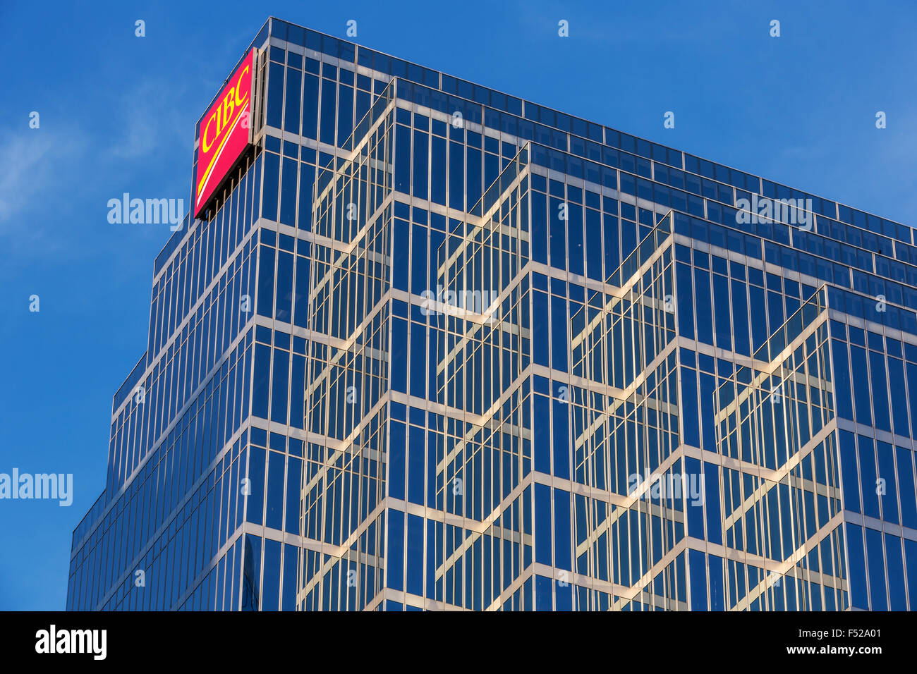 Glass facades of CIBC office towers in Vancouver, BC, Canada - Stock Image