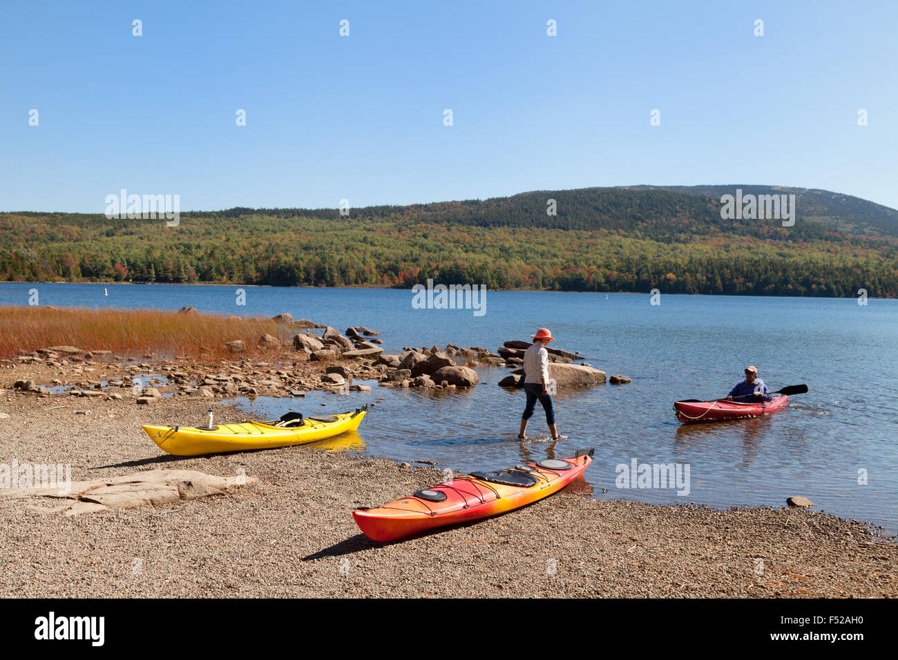 Canoeing and kayaking, Eagle Lake, Acadia National Park, Maine USA - Stock Image