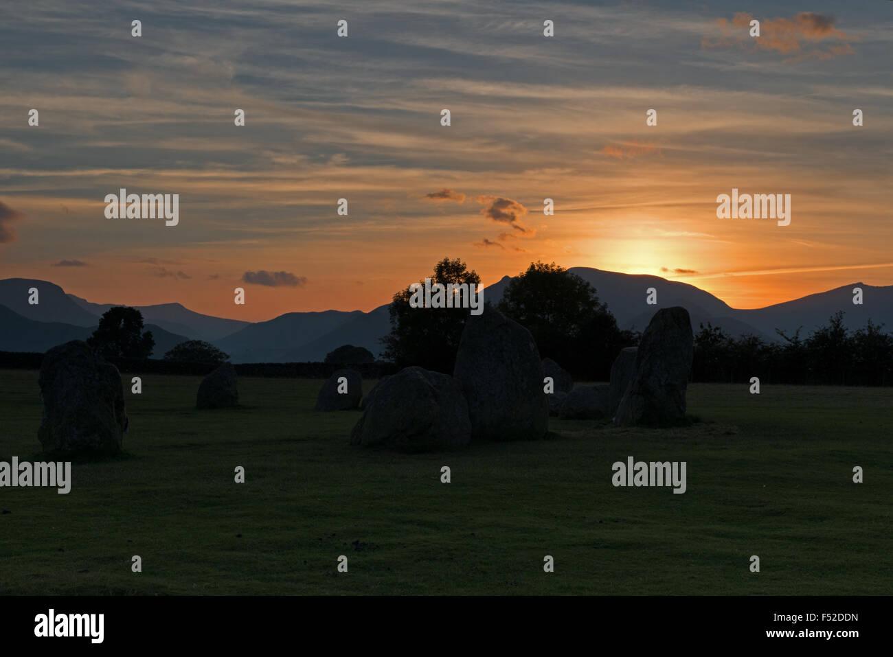 Sunset at Castlerigg stone circle near Keswick, Lake District, Cumbria, England, Uk, Gb - Stock Image