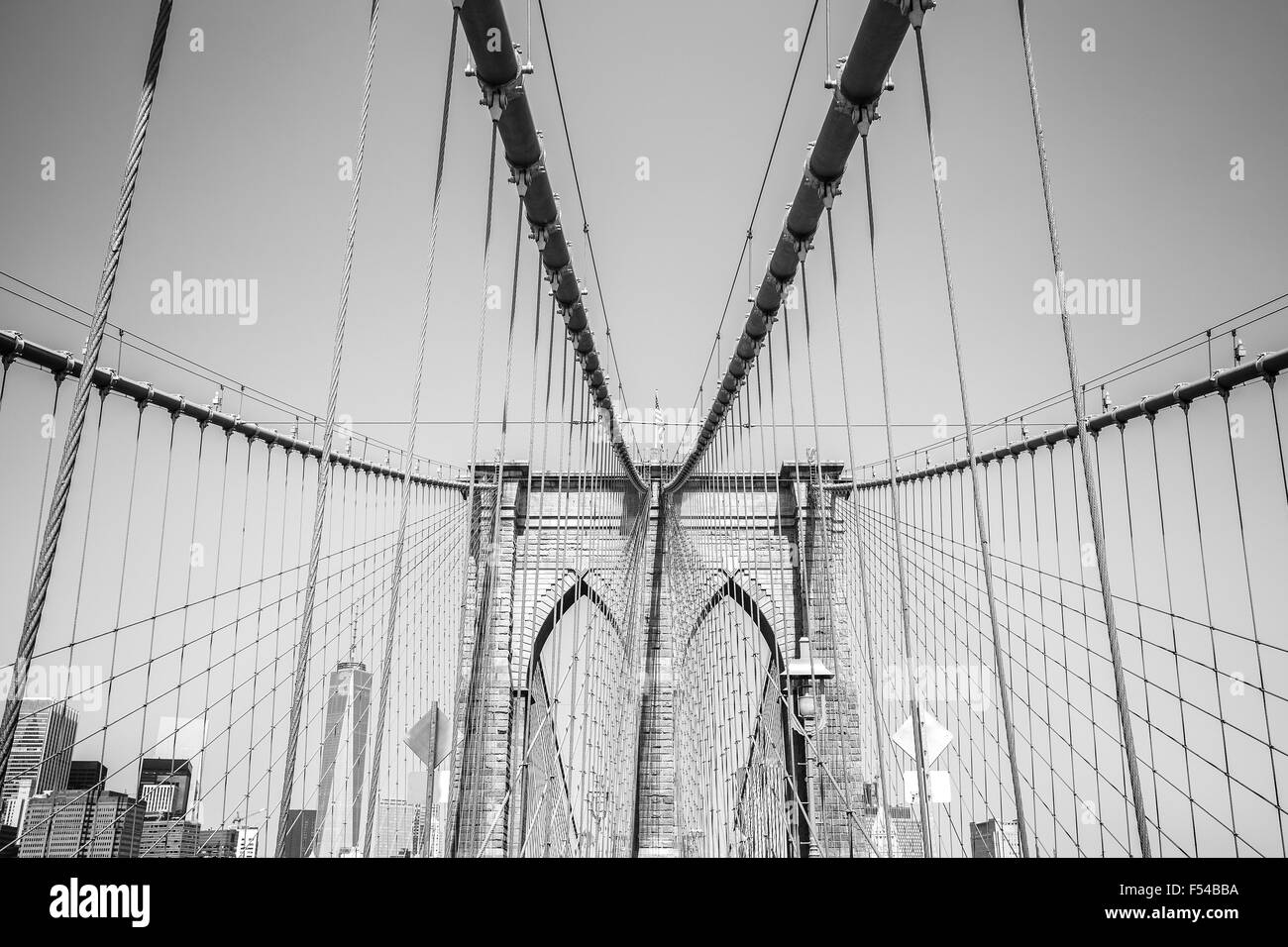 Black and white photo of the Brooklyn Bridge, NYC, USA. - Stock Image