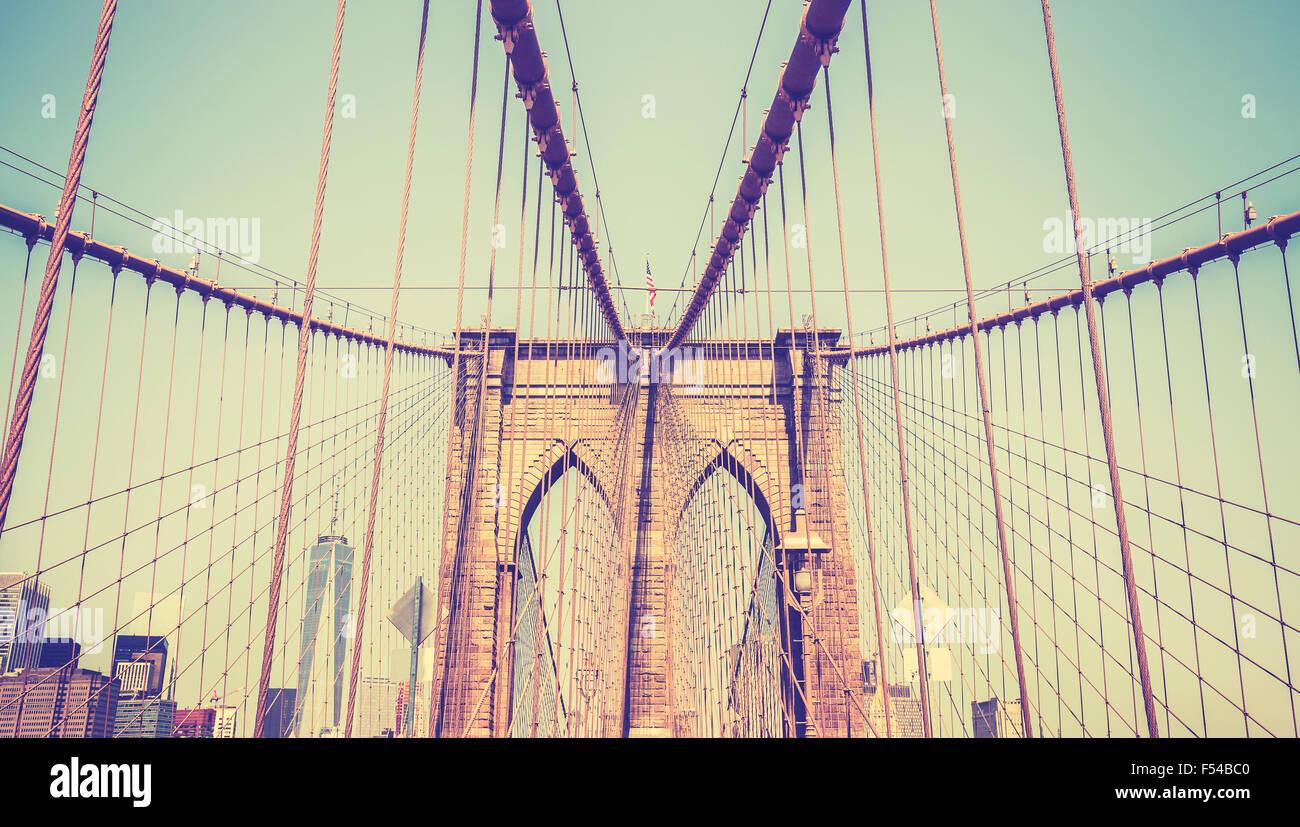 Vintage toned photo of the Brooklyn Bridge, NYC, USA. - Stock Image
