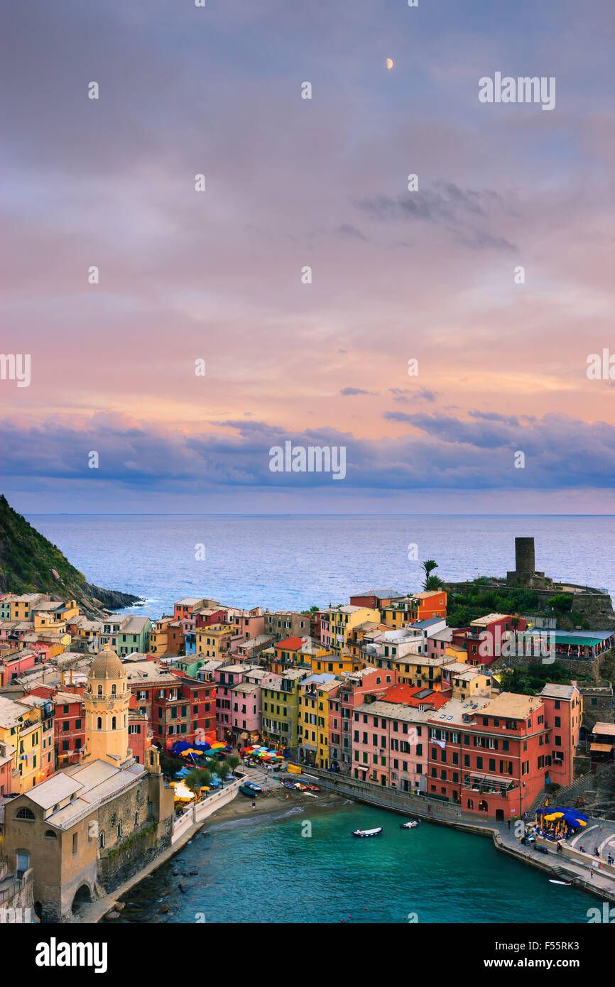 Vernazza (Latin: Vulnetia) is a town and commune located in the province of La Spezia, Liguria, northwestern Italy. - Stock Image