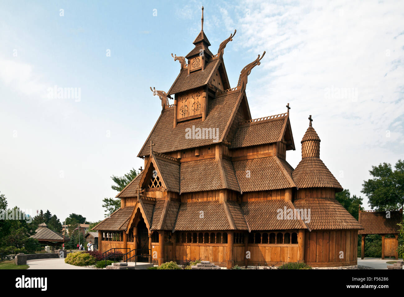 Full-sized replica of the Gol (Hallingdal) Stave Church, built in the mid 1200s in Gol, Norway. - Stock Image