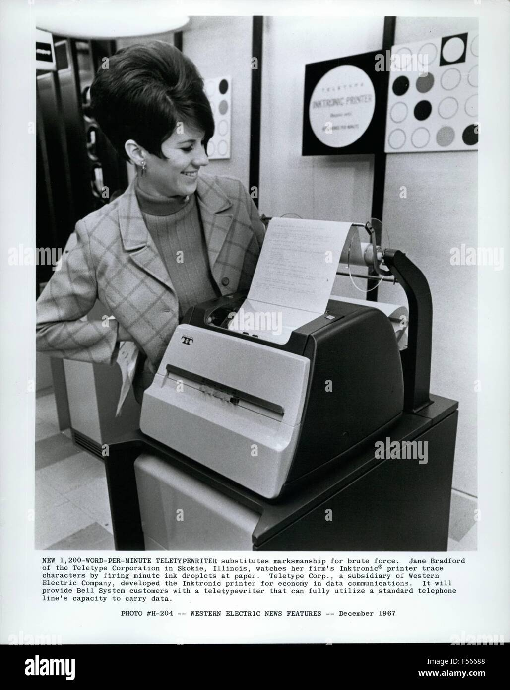 1968 - New 1-200 Word per minute teletypewriter substitutes marksmanship for brute force. Jane Bradford of the teletype - Stock Image