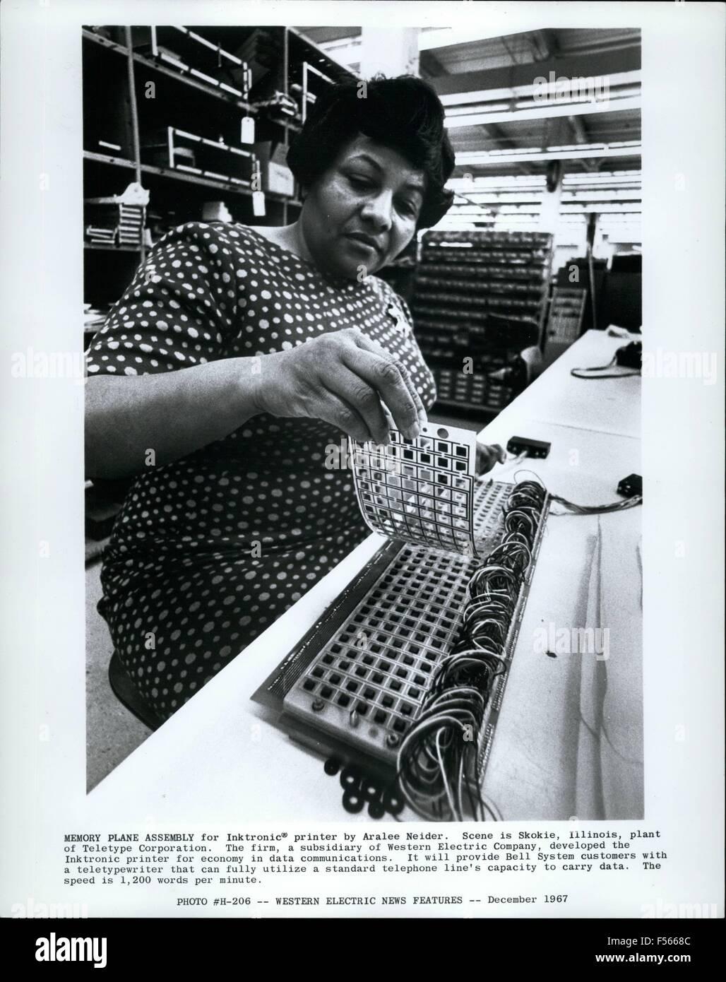 1968 - Blocked by grey box Memory Plane Assembly for Inktronic; printer by Aralee Neider. Scene in Skokie, Illinois, - Stock Image
