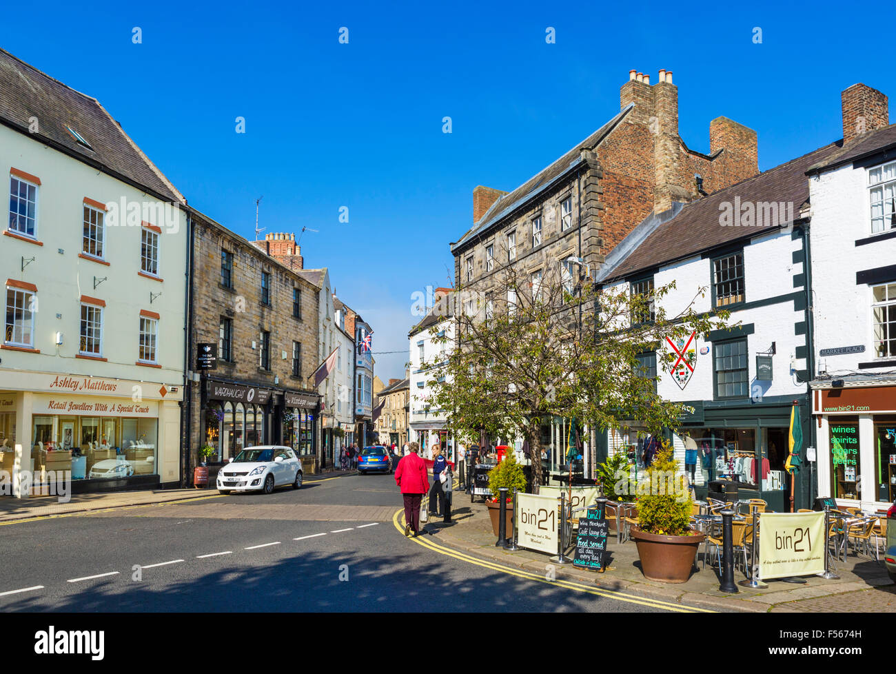 Market Place in the town centre, Hexham, Northumberland, England, UK Stock Photo