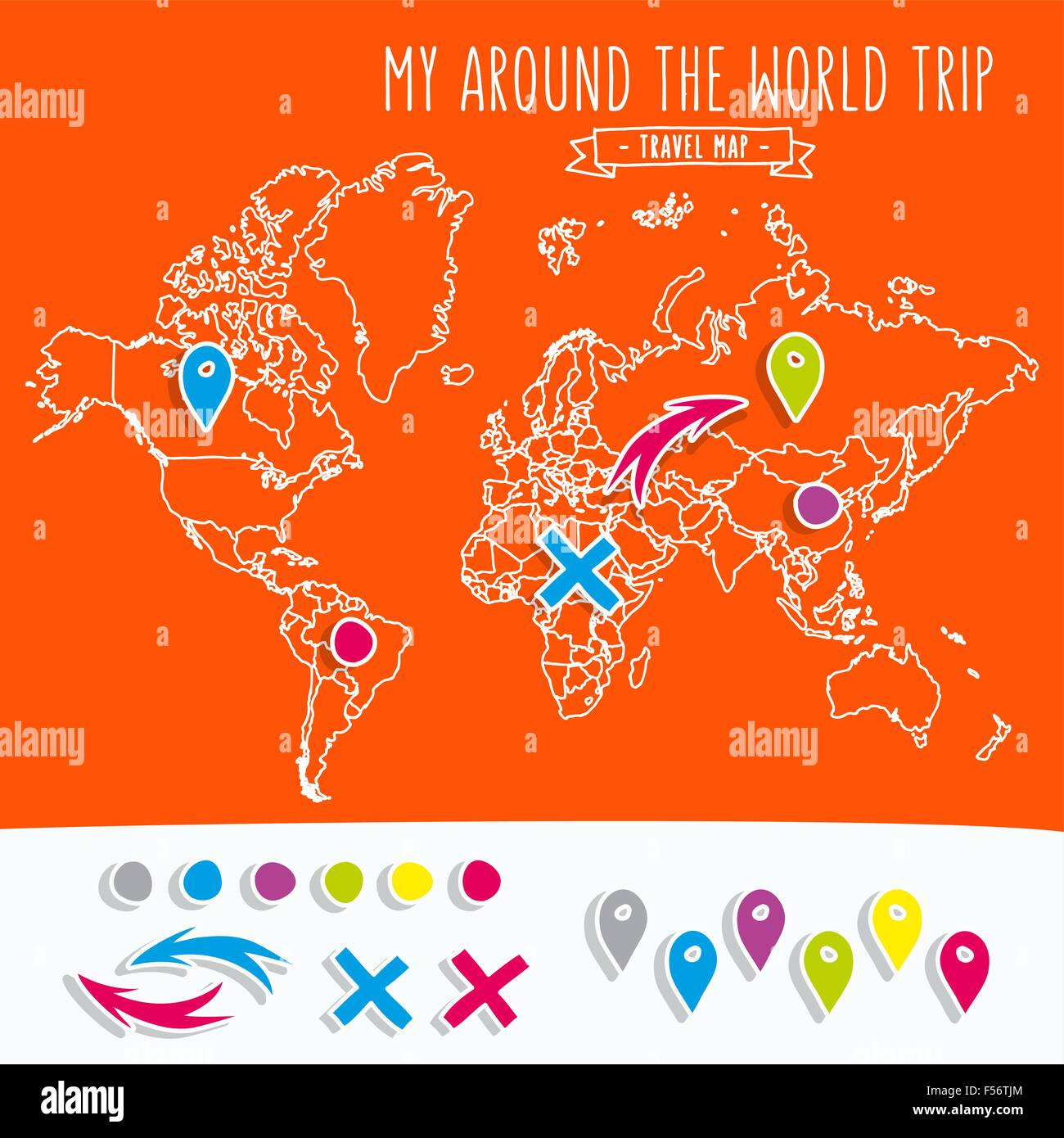 Hand drawn world map with pins and arrows vector design cartoon hand drawn world map with pins and arrows vector design cartoon style atlas illustration travel poster template gumiabroncs Images
