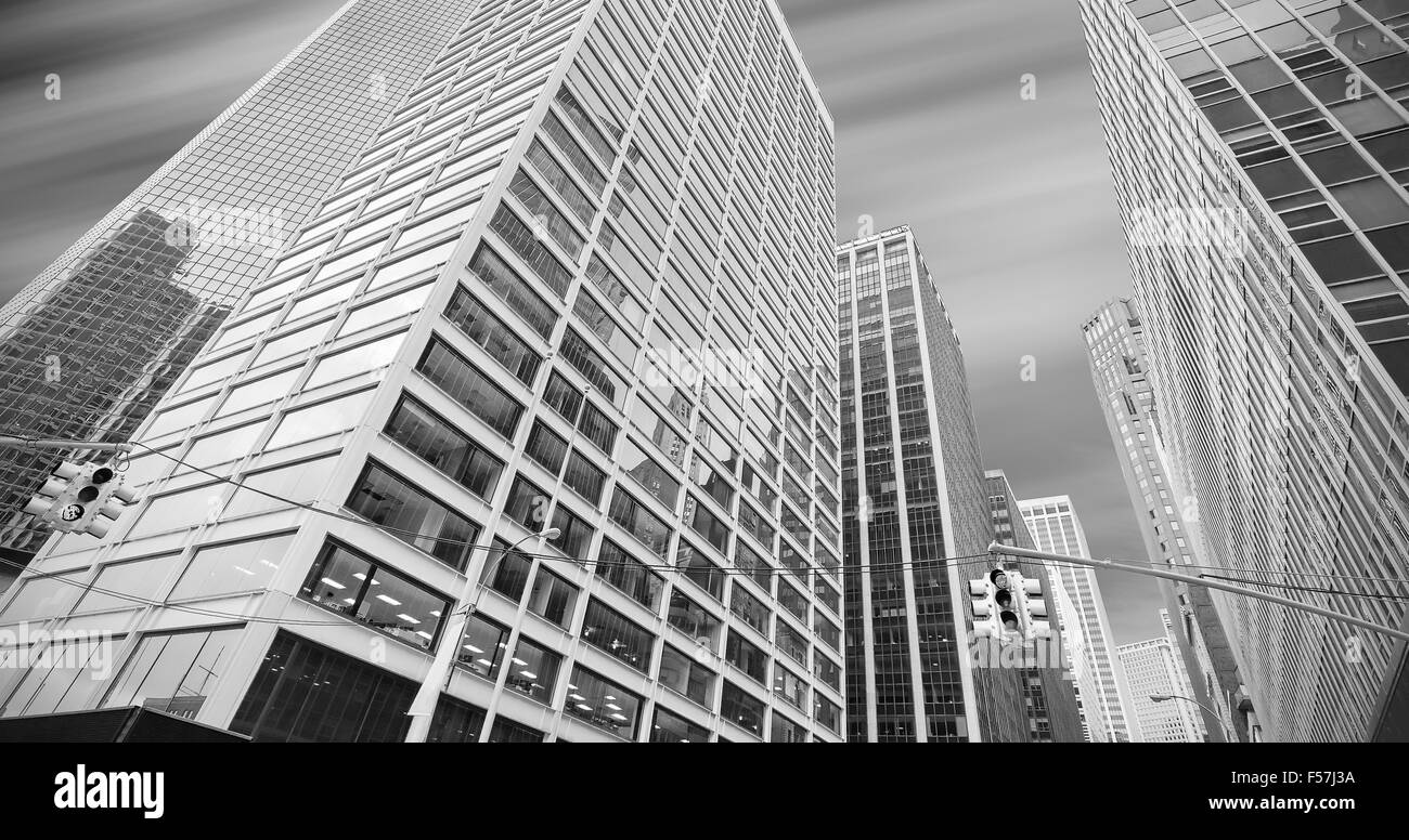 Black and white panoramic picture of modern buildings in Manhattan, New York City, USA. - Stock Image