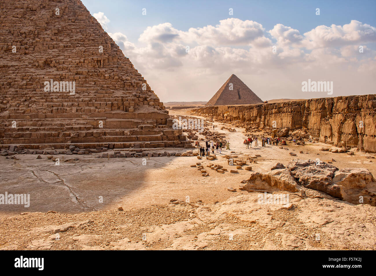 Image of the pyramids of Giza in Cairo, Egypt. - Stock Image