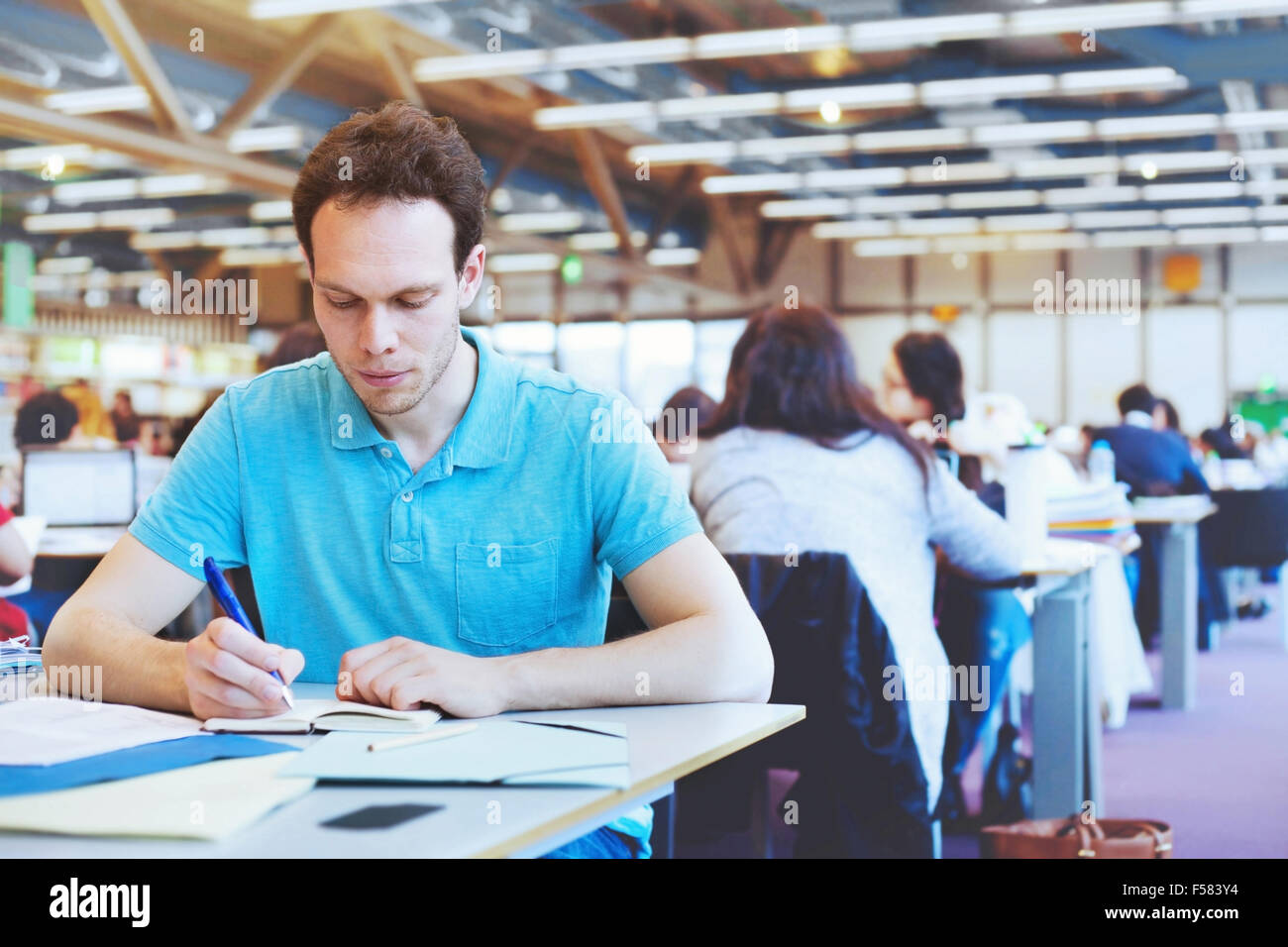 student working in modern public library of university - Stock Image