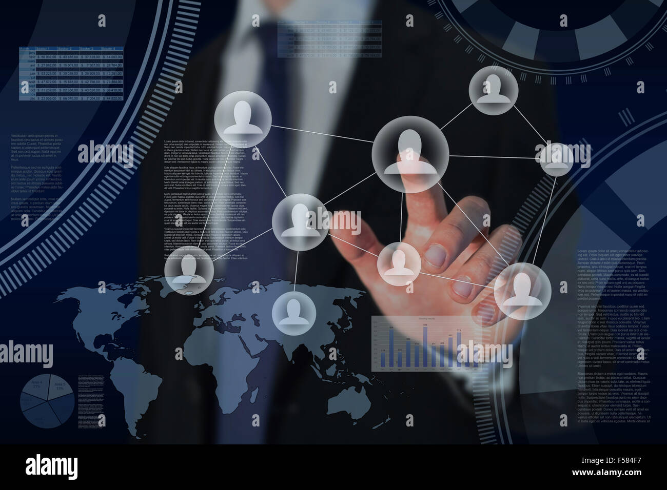human resources and global business strategy concept - Stock Image