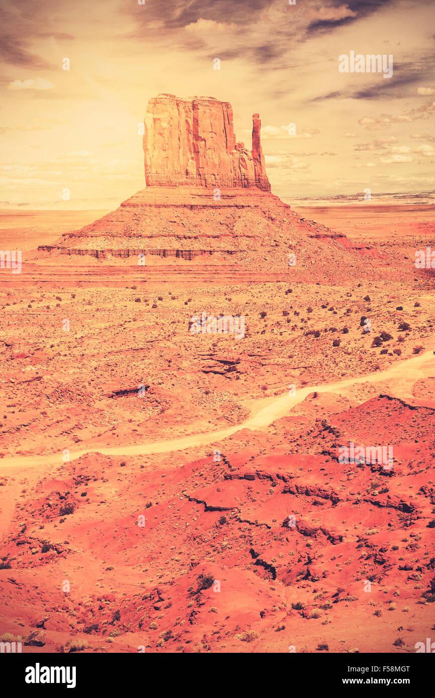 Retro old film style photo of Monument Valley Navajo Tribal Park, Utah, USA. - Stock Image