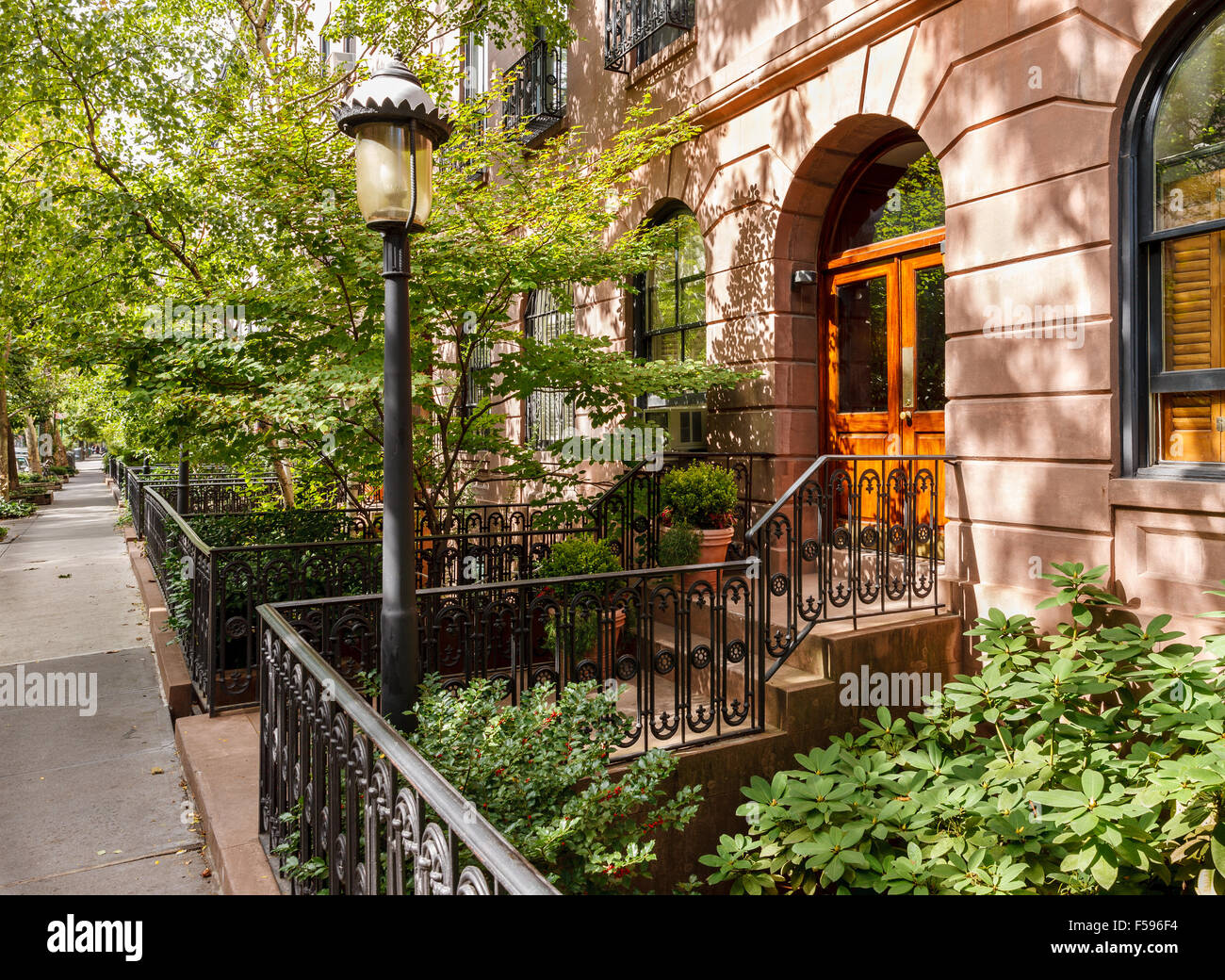 Chelsea tree-filled street and its townhouses and frontyards, Manhattan, New York City - Stock Image