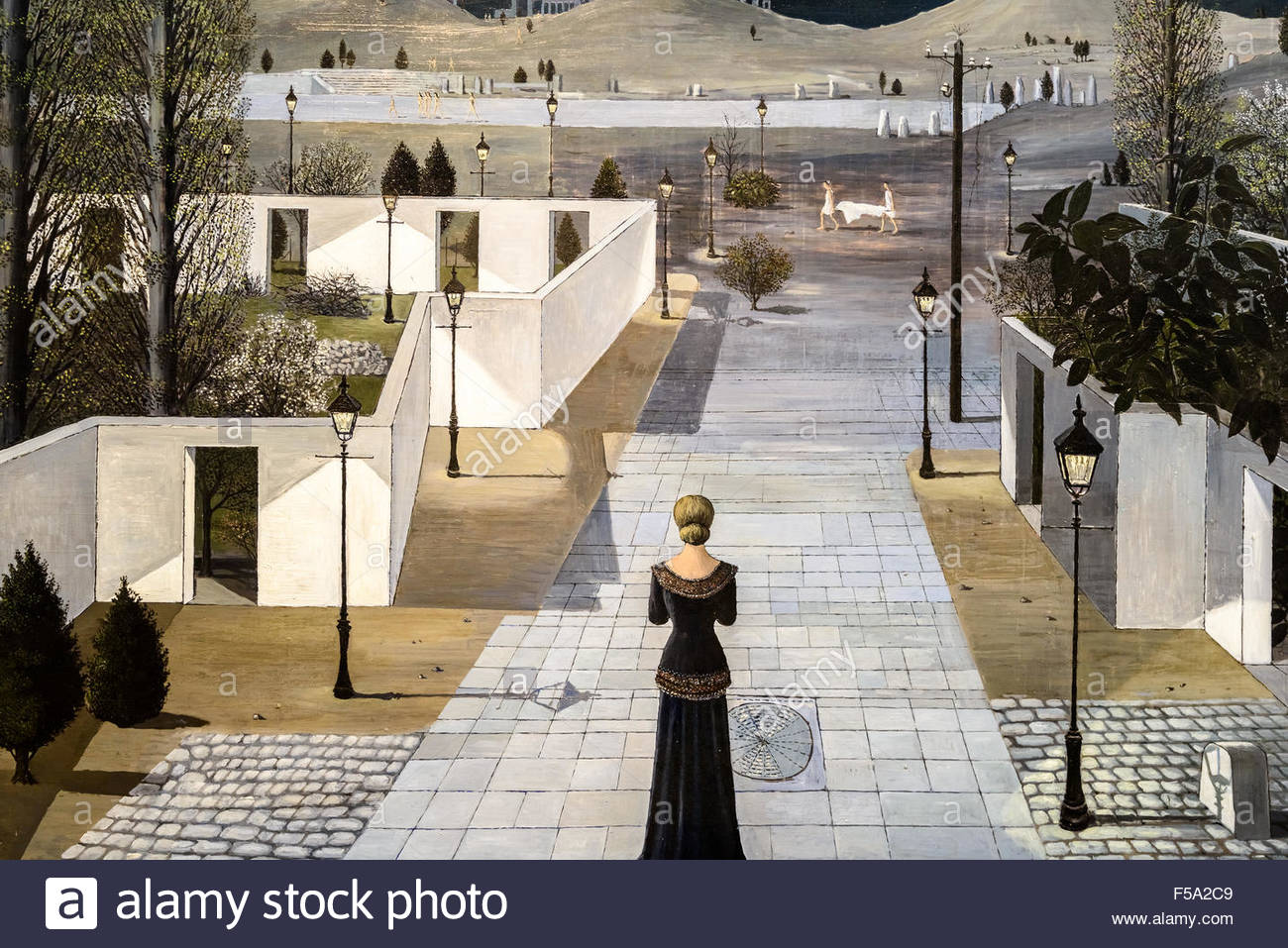 landscape with lanterns by paul delvaux stock photo 89346553 alamy