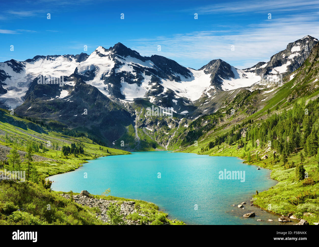 Beautiful turquoise lake in Altai mountains - Stock Image