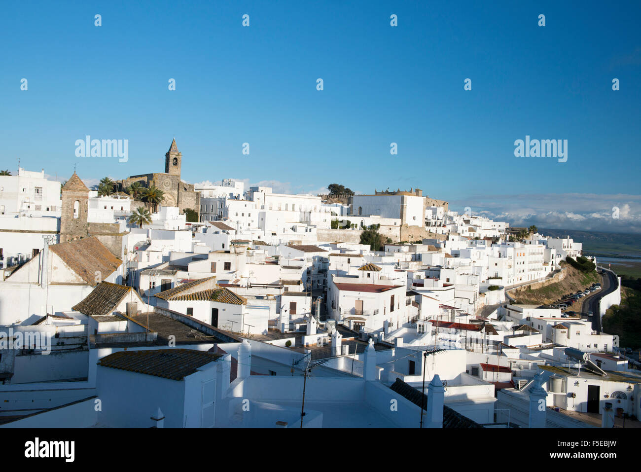 Rooftop views of the whitewashed village (Pueblos blanca) of Vejer de la Frontera, Cadiz province, Andalucia, Spain, - Stock Image