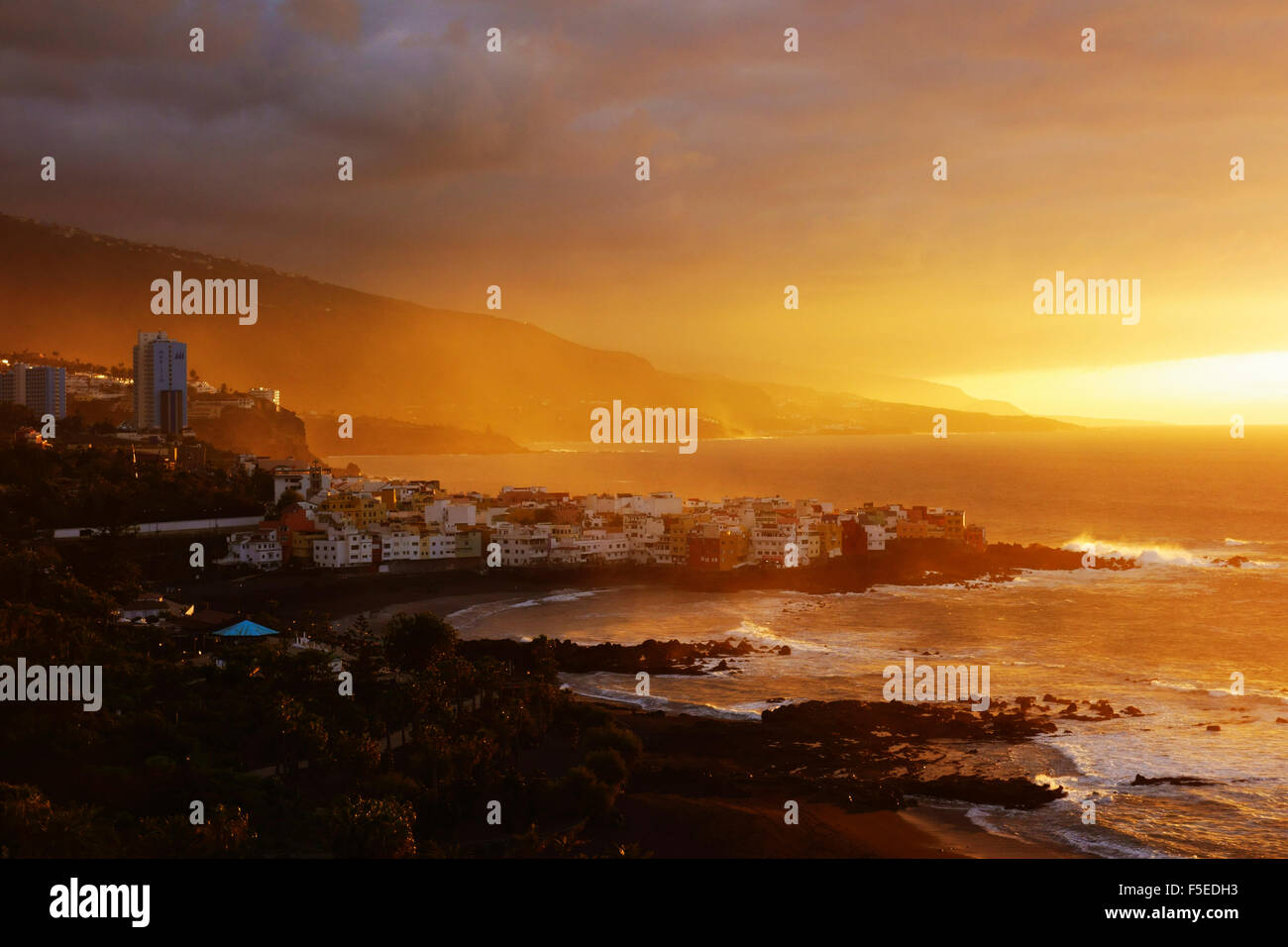 View of Punta Brava and Playa Jardin at sunset, Puerto de la Cruz, Tenerife, Canary Islands, Spain, Atlantic, Europe - Stock Image