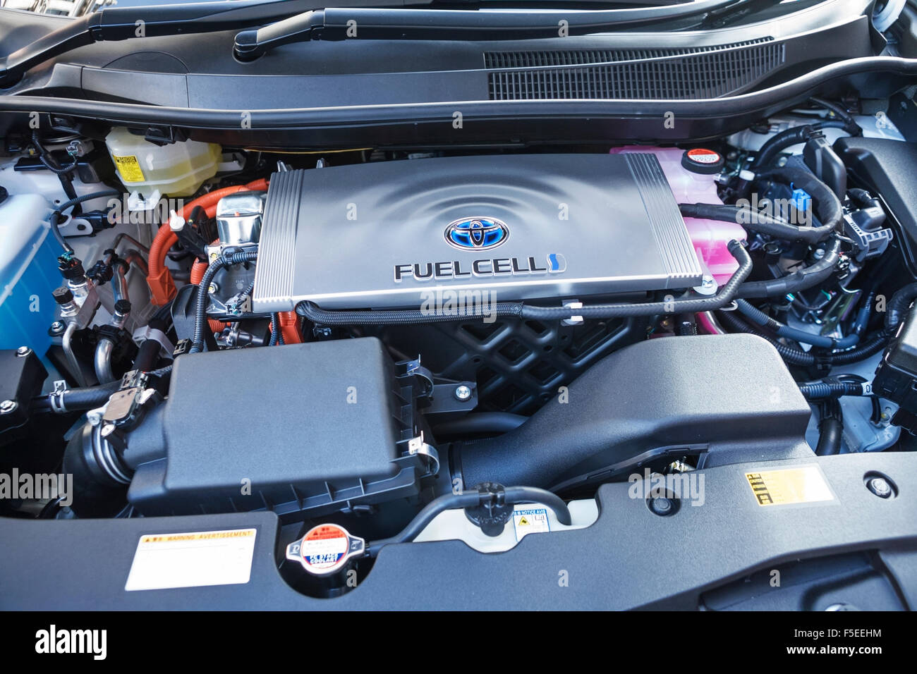 Toyota electric car fuel cell and engine. - Stock Image