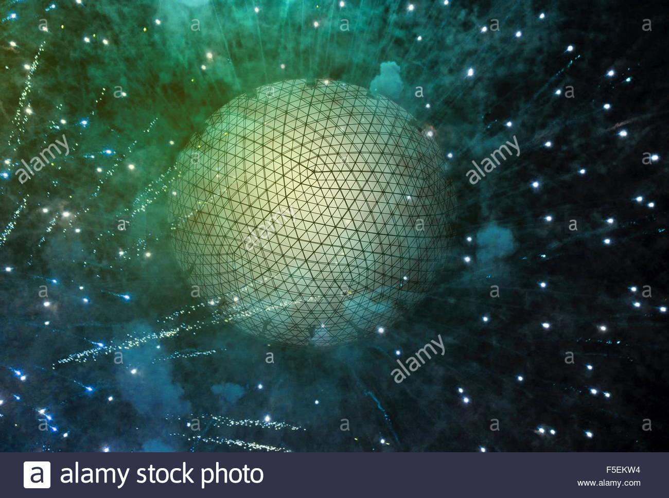 Grid pattern over exploding sphere - Stock Image